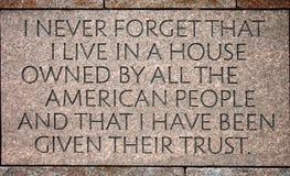 Preisangabe im Franklin- Delano Rooseveltdenkmal Lizenzfreie Stockfotos