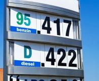 Preise an der Tankstelle Stockbilder