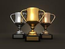 Preise - Gold-, Silber- und Bronzentrophäen Stockfotografie
