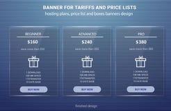 Preisliste, Pläne bewirtend und Netzkastenfahnen entwerfen Drei Tarife Stockbild