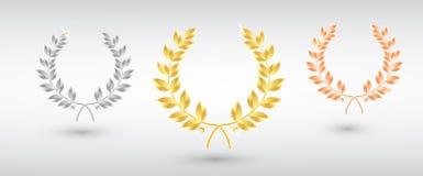 Preislorbeer stellte - zuerst, zweites und dritter Platz ein Siegerschablone Symbol des Sieges und der Leistung Gold Laurel Wreat lizenzfreie abbildung