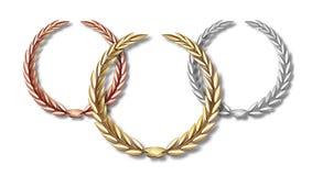 Preislorbeersatz lokalisiert auf einem weißen Hintergrund Zuerst zweiter und dritter Platz Siegerschablone Symbol des Sieges und lizenzfreie abbildung