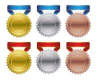 Preismedaillen - Gold, Silber, Bronze Lizenzfreie Stockfotos