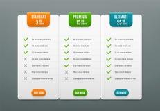 Preispläne Infographic Vorsprung des Vergleiches mit 3 Spalten Netztabelle mit Produkt setzt für Preis Vektor infographics Schabl lizenzfreie abbildung