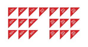 Preisrabatt und verkaufte dreieckigen Vektor ausließ Eckkennsatzfamilie lizenzfreie stockfotografie