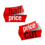 Preissenkung und halbe Preisaufkleber Lizenzfreie Stockfotografie