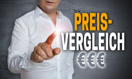 Preisvergleich in german Price comparison is shown by man conc Stock Images