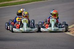 PREJMER, BRASOV, ROEMENIË - MEI 3: Onbekende loodsen die in Nationaal Karting-Kampioenschap Dunlop 2015 concurreren, Royalty-vrije Stock Afbeeldingen