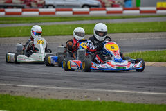 PREJMER, BRASOV, ROMANIA - MAY 3: Unknown pilots competing in National Karting Championship Dunlop 2015,. On May 3, 2015 in Prejmer, Romania Stock Photos