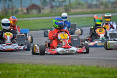 PREJMER, BRASOV, ROMANIA - MAY 3: Unknown pilots competing in National Karting Championship Dunlop 2015, Stock Photos