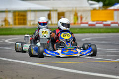 PREJMER, BRASOV, ROMANIA - MAY 3: Unknown pilots competing in National Karting Championship Dunlop 2015,. On May 3, 2015 in Prejmer, Romania Royalty Free Stock Photos