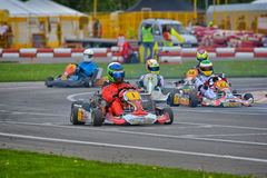PREJMER, BRASOV, ROMANIA - MAY 3: Unknown pilots competing in National Karting Championship Dunlop 2015, Royalty Free Stock Photography