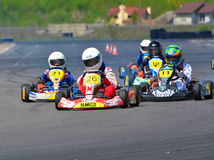 PREJMER, BRASOV, ROMANIA - MAY 3: Unknown pilots competing in National Karting Championship Dunlop 2015,. On May 3, 2015 in Prejmer, Romania Stock Photo