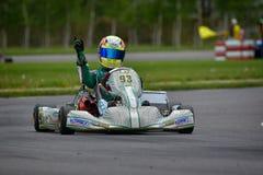 PREJMER, BRASOV RUMUNIA, MAJ, - 3: Nieznane pilotuje konkurowanie w obywatela Karting mistrzostwie Dunlop 2015, Zdjęcie Royalty Free