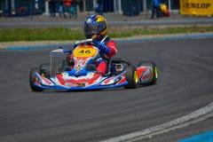 PREJMER, BRASOV RUMUNIA, MAJ, - 3: Nieznane pilotuje konkurowanie w obywatela Karting mistrzostwie Dunlop 2015, Fotografia Stock