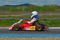 PREJMER, BRASOV RUMUNIA, MAJ, - 3: Nieznane pilotuje konkurowanie w obywatela Karting mistrzostwie Dunlop 2015, Obraz Royalty Free