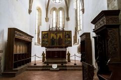 Old altar inside the Fortified Church Prejmer in Prejmer city in Romania. royalty free stock photo