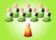 Prejudice. Vector social and business concept illustrated with green group of persons with hand sign stop against one different red person on green background royalty free illustration