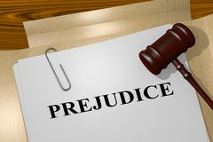 PREJUDICE - legal concept. 3D illustration of PREJUDICE title on legal document stock illustration