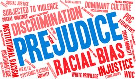Prejudice Word Cloud. On a white background stock illustration