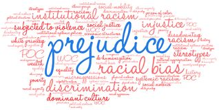 Prejudice Word Cloud. On a white background vector illustration