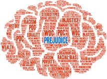 Prejudice Word Cloud. On a white background stock illustration