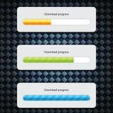 Preloader Progress Web Downloading Bar. On carbon background Stock Photos
