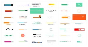 Preloaders and progress bar. Web preloader. Buffer progress bar. Set of loading elements. Collection of modern loading bars and buffering icon set isolated on royalty free illustration