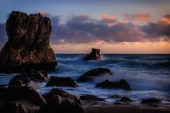 Prelude. A prelude to the sunset at McClure`s Beach at Point Reyes National Seashore Stock Images