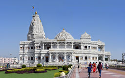 Prem Mandir, the temple of love in Vrindavan, India. Vrindavan, India - October 13, 2016: Prem Mandir - The Temple of Divine Love is a divine monument, gifted Royalty Free Stock Images