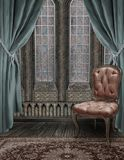 The Parlor. A premade background of a room with curtains, stained glass windows and a chair Stock Photos