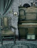 The Witches Music Room. A premade background of a witches music room with ephemera, a piano and a cat Stock Image