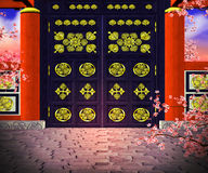Premade Chines Gate Background Royalty Free Stock Photos