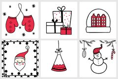 Premade handdrawn set of Christmas and New Year cards with winte Royalty Free Stock Photo