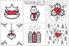 Premade handdrawn uppsättning av kort för jul och för nytt år med winte Royaltyfri Foto