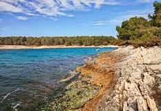 Premantura, Pula, Istria, Croatia: landscape of the bay of the a. Premantura, Pula, Istria, Croatia: landscape of the bay in the nature park of the peninsula on stock photos