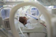 Neonatal Intensive Care. Premature baby lying in an incubator in a neonatal intensive care unit stock photos