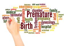 Premature birth word cloud hand writing concept stock photos