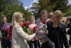 PREMIÄRMINISTER PÅ HENNES OMVAL COMPAIGN Fotografering för Bildbyråer