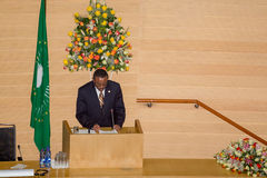 Premiärministern av Etiopien levererar ett anförande Royaltyfri Foto