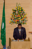 Premiärministern av Etiopien levererar ett anförande Arkivfoto