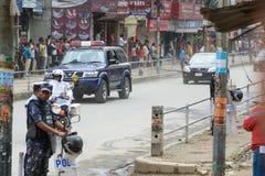 Premiärministern Narendra Modi ankommer i Katmandu Royaltyfri Bild