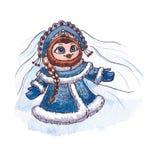 Première aquarelle de vecteur de caractère d'Owl Snow Photo libre de droits