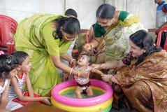 Première cérémonie de riz-consommation en Inde Photographie stock