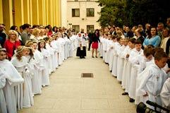 Première cérémonie de sainte communion à Poznan Pologne 2017 Photographie stock