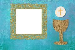Première carte d'invitation de sainte communion Image libre de droits