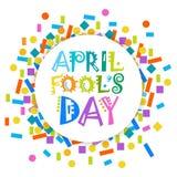 Première carte de voeux d'April Fool Day Happy Holiday Images stock