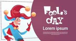 Première carte de voeux d'April Fool Day Happy Holiday illustration de vecteur