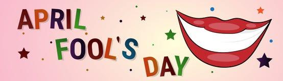 Première carte de voeux de sourire d'April Fool Day Happy Holiday de bouche Photographie stock