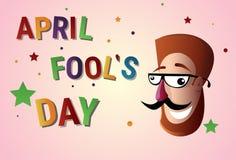 Première carte de voeux de sourire d'April Fool Day Happy Holiday de visage illustration libre de droits